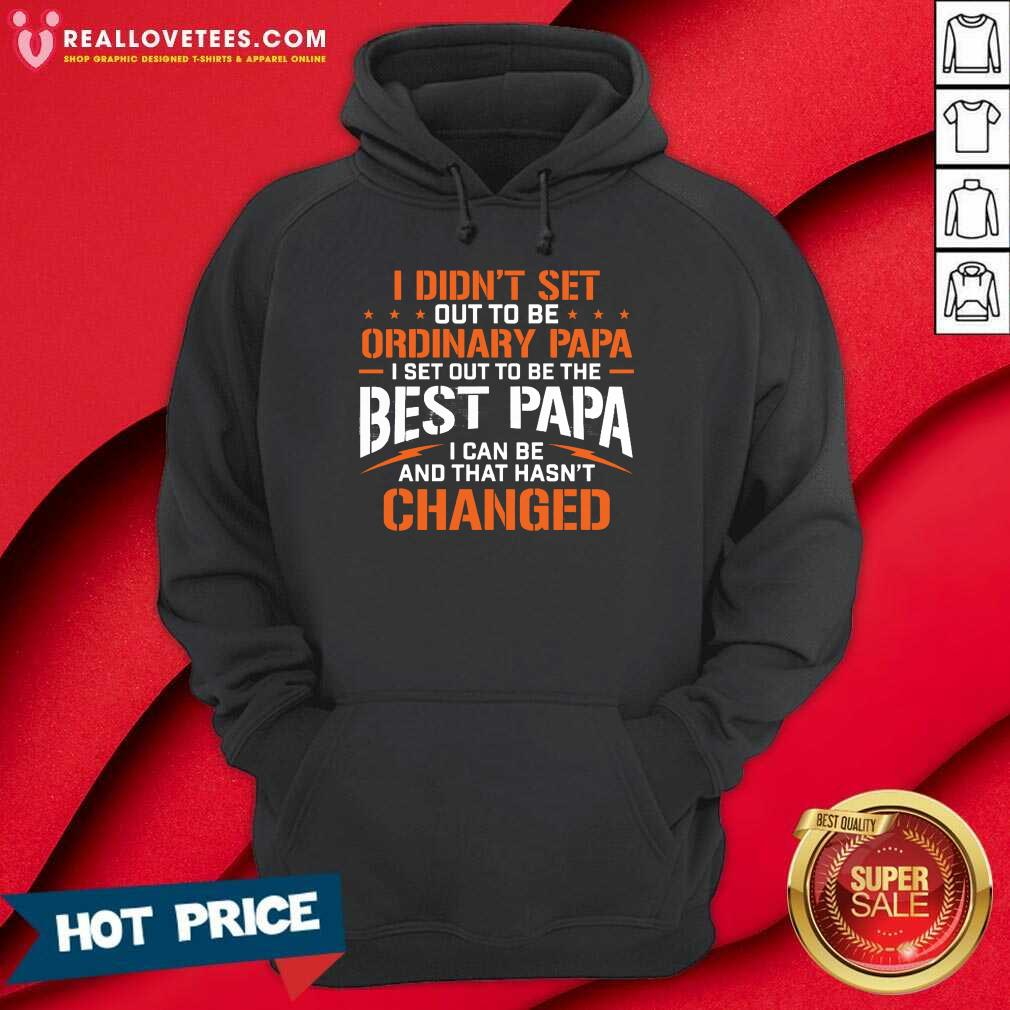 I Didnt Set Out To Be Ordinary Papa I Set Out To Be The Best Papa I Can Be And That Hasnt Changed Hoodie