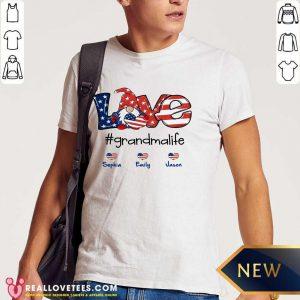 Shorty Love Grandma Life Heart Sophia Emily Jason American Flag Shirt