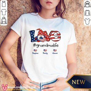 Shorty Love Grandma Life Heart Sophia Emily Jason American Flag V-neck